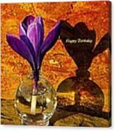 Crocus Floral Birthday Card Canvas Print
