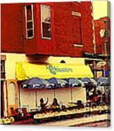 Croissanterie Figaro Parisian Bistro Sidewalk Cafe C Spandau Montreal Premier City Scene Artist Canvas Print