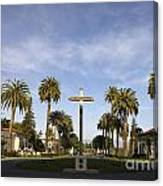 Cross And Palm Trees Mission Santa Clara Canvas Print