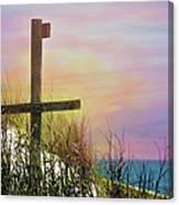 Cross At Sunset Beach Canvas Print