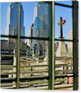 Cross At World Trade Towers Memorial Canvas Print