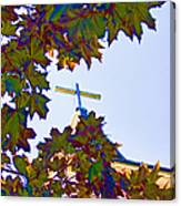Cross Framed By Leaves Canvas Print