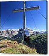 cross on Crepa Neigra peak Canvas Print