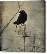 Crow On A Crooked Old Cross Canvas Print
