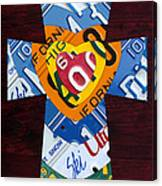 Cross With Heart Rustic License Plate Art On Dark Red Wood Canvas Print