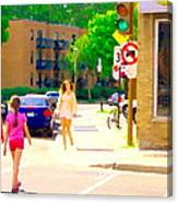 Crossing Notre Dame At Charlevoix To Dilallo Burger Montreal Summer City Scene Carole Spandau Canvas Print