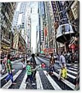 Crossing The City Street Canvas Print