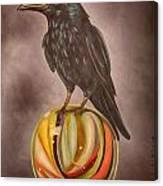 Crow On Marble Edit 3 Canvas Print