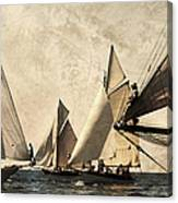 A Vintage Processed Image Of A Sail Race In Port Mahon Menorca - Crowded Sea Canvas Print
