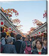 Crowds Shopping Canvas Print