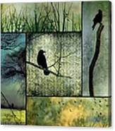 Crows In Nature Collage Canvas Print