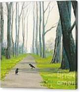 Crows On The Path Canvas Print