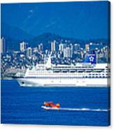 Cruise Ship And Seaplane In Vancouver Harbor Canvas Print