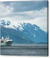 Cruise Ship In The Sognefjord In Norway Canvas Print