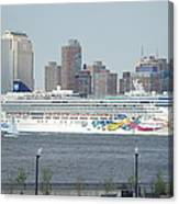 Cruise Ship On The Hudson Canvas Print