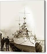 Cruiser Uss New York Going Into Dry Dock San Francisco Circa 1903 Canvas Print