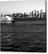 Cruising Elliott Bay Black And White Canvas Print