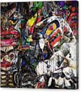 Cubist Photographic Composition Of Totem Poles Canvas Print
