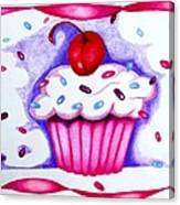 Cupcake And Ribbons Canvas Print