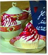 Cupcakes And Tea Je Suis Au Jardin Coffee Shop City Scene Cafe Montreal Food  Art Carole Spandau Canvas Print
