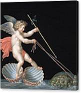 Cupid Being Led By Tortoises Canvas Print