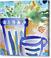 Cups And Flowers-  Watercolor Floral Painting Canvas Print