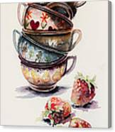 Cups And Strawberries Canvas Print