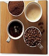 Cups Of Coffee And Coffee Beans Canvas Print