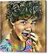 Curled Black Hair Canvas Print