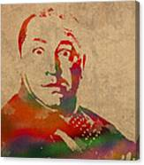 Curly Three Stooges Watercolor Portrait On Worn Canvas Canvas Print