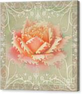 Curlyicue Peach Rose With Flourshis   Square Canvas Print