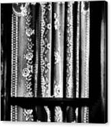 Curtain In Black And White Canvas Print