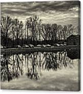 Cushwa Basin C And O Canal Black And White Canvas Print