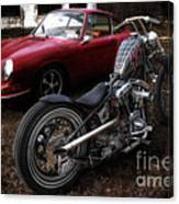 Custom Bike And Porsche Canvas Print