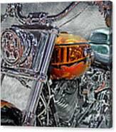 Custom Bike In Orange And Black Canvas Print