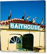 Customers At The Baitshop Canvas Print