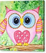 Cute As A Button Owl Canvas Print