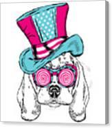 Cute Dog In An Unusual Hat . Vector Canvas Print