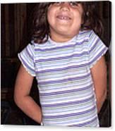 Cute Girl In Purple Blouse Canvas Print