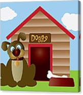 Cute Puppy Dog With Dog House Illustration Canvas Print