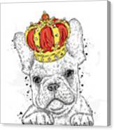 Cute Puppy Wearing A Crown. French Canvas Print