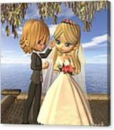 Cute Toon Wedding Couple On A Seaside Balcony Canvas Print