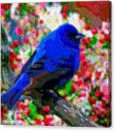 Cutout Layer Art Animal Portrait Bird Blue Canvas Print