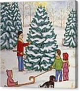 Cutting Our Tree Canvas Print