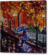 Cycling In The Rain Canvas Print