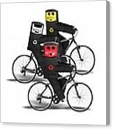 Cycling Recycle Bins Canvas Print