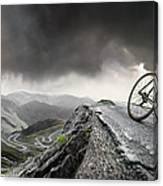 Cyclist Climbs To The Top Canvas Print