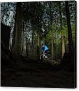 Cyclist In Mountain Forest Canvas Print
