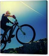 Cyclist On Bike Canvas Print