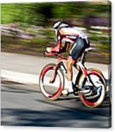 Cyclist Racing The Clock Canvas Print